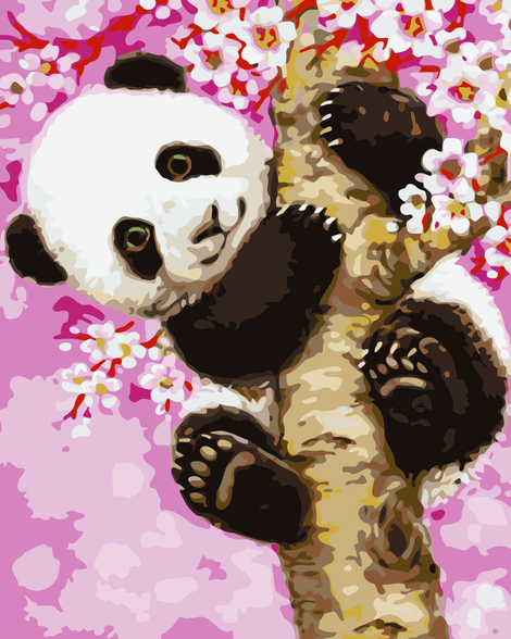 Lovely Panda On the Tree Diy Paint By Numbers Kits UK AN0145