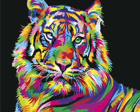 Colorful Tiger Diy Paint By Numbers Kits UK AN0018