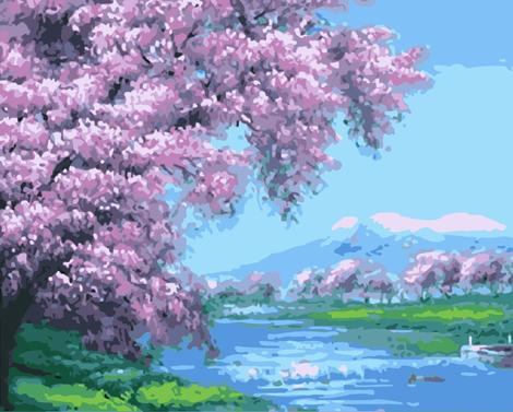 Cherry Blossoms Diy Paint By Numbers Kits UK PL0197