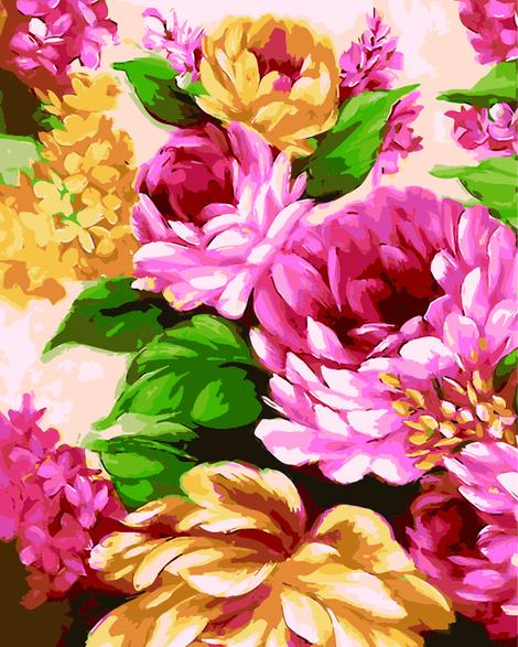 Flower Diy Paint By Numbers Kits UK PL0404