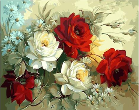 White Red Rose Flowers Diy Paint By Numbers Kits UK PL0046