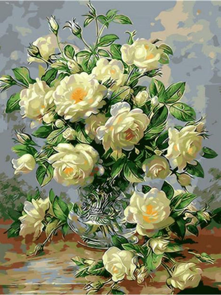 Rose Flowers Diy Paint By Numbers Kits UK PL0497