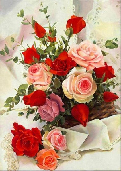 Rose Flowers Diy Paint By Numbers Kits UK PL0507