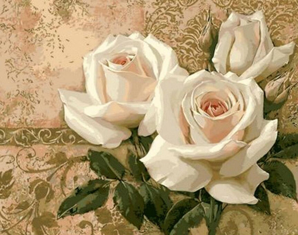 Rose Flowers Diy Paint By Numbers Kits UK PL0508