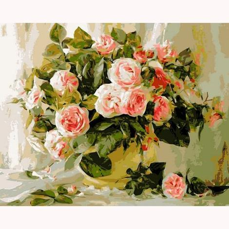 Rose Flowers Diy Paint By Numbers Kits UK PL0513