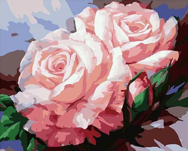 Rose Flowers Diy Paint By Numbers Kits UK PL0514