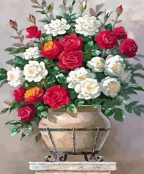 Rose Flowers Diy Paint By Numbers Kits UK PL0527