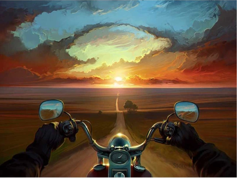 Motorbike Sunset Diy Paint By Numbers Kits UK VE0021