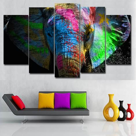5 Panels Colorful Elephant Diy Paint By Numbers Kits UK AN0089