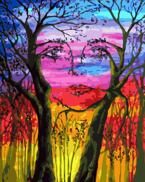 Abstract Art Tree& Girl Diy Paint By Numbers Kits For Adults UK PL0096