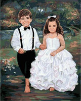 Portrait Boy And Girl Diy Paint By Numbers Kits UK PO0274