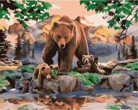 Bear Diy Paint By Numbers Kits UK AN0533