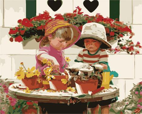 Portrait Boy And Girl Diy Paint By Numbers Kits UK PO0269
