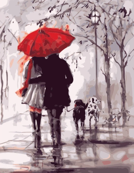 Lovers Under Umbrella Diy Paint By Numbers Kits UK PO0081