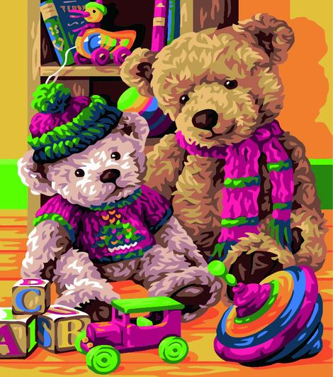 Bear Diy Paint By Numbers Kits UK AN0519