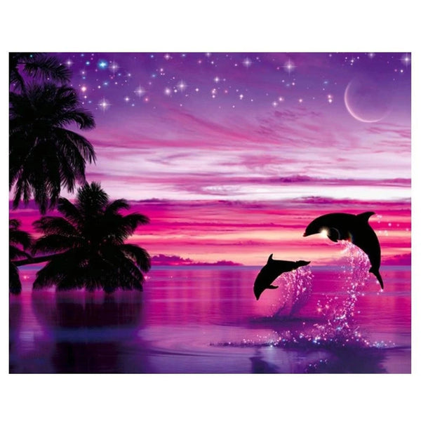 Romantic Dolphin Diy Paint By Numbers Kits Diy UK MA086