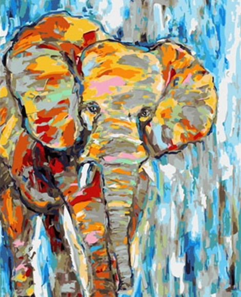 Colorful Elephant Diy Paint By Numbers Kits UK AN0229