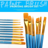 10x High Quality Paint Brushes Diy Paint By Numbers UK TP0002