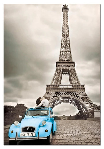Car Landscape Eiffel Tower Diy Paint By Numbers Kits LS283