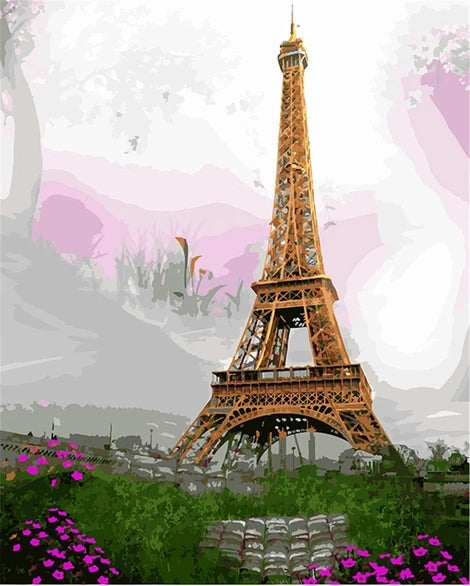 Landscape Eiffel Tower Diy Paint By Numbers Kits LS294