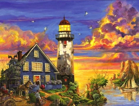 Landscape Lighthouse Diy Paint By Numbers Kits UK BU0051
