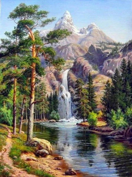 Nature Landscape Waterfall Diy Paint By Numbers Kits UK LS028