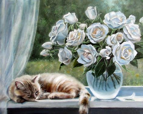 Flower And Cat Diy Paint By Numbers Kits UK PE0152