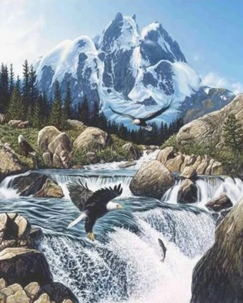 Mountain Landscape Diy Waterfall Paint By Numbers Kits UK LS073
