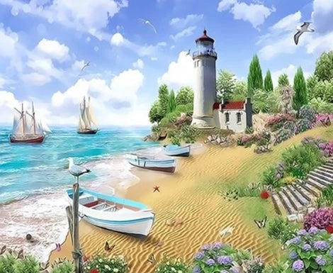 Lighthouse Diy Paint By Numbers Kits UK BU0029