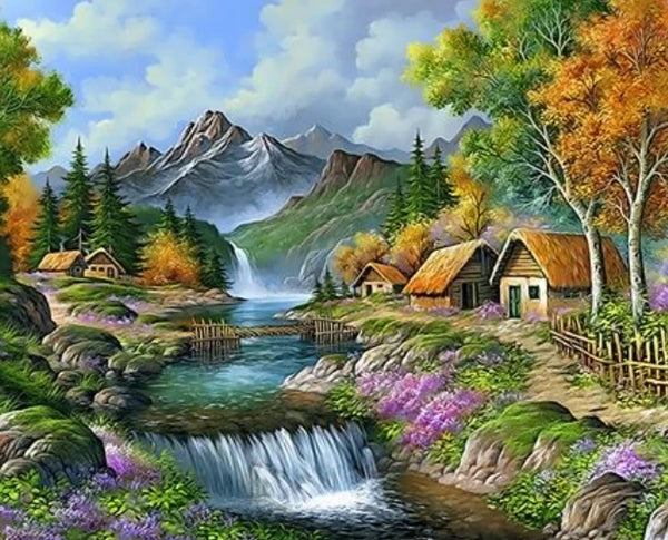 Waterfall Landscape Mountain Lake Diy Paint By Numbers Kits UK LS071