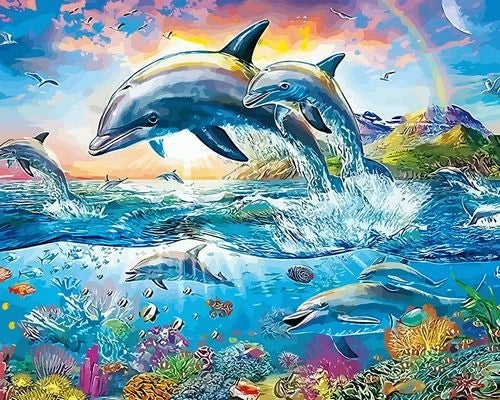 Sea Dolphin Diy Paint By Numbers Kits Diy UK MA087