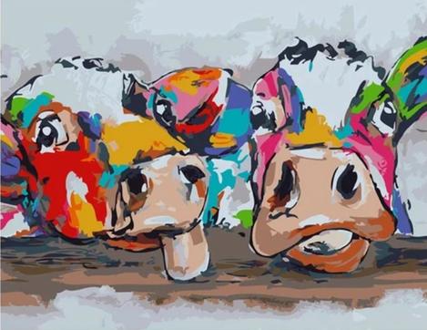 Colorful Cow Diy Paint By Numbers Kits UK FA0007