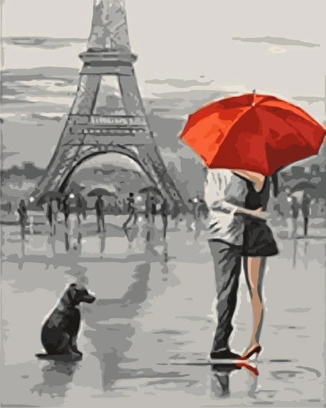 Lovers Under Umbrella Diy Paint By Numbers Kits LS273