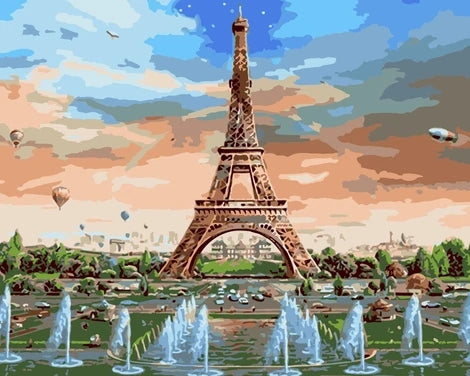 Diy Eiffel Tower Paint By Numbers Kits LS297