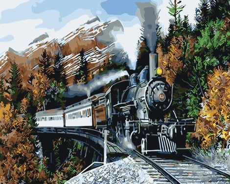 Train Diy Paint By Numbers Kits UK VE0053