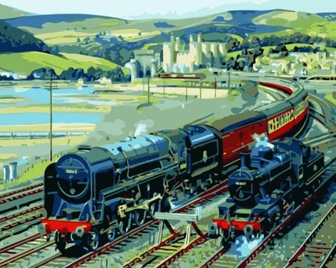 Train Diy Paint By Numbers Kits UK VE0050