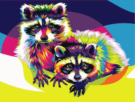 Raccoon Diy Paint By Numbers Kits UK AN0887