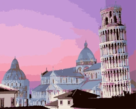 Leaning Tower of Pisa Diy Paint By Numbers Kits LS374