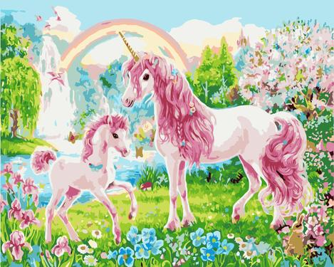 Pink Unicorn Diy Paint By Numbers Kits UK FK253