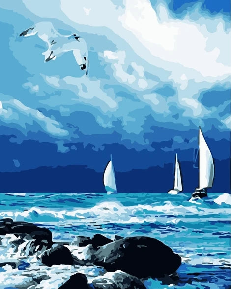 Boat Diy Sea Abstract Paint By Numbers Kits UK LS046