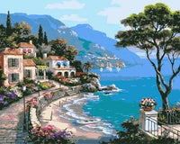 Town Mediterranean Sea Diy Paint By Numbers Kits For Adults UK LS058