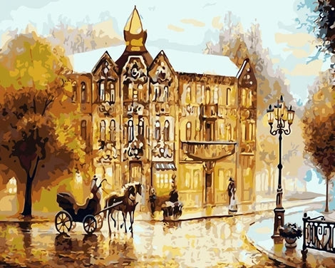 Landscape Town Street Diy Paint By Numbers Kits UK BU0101