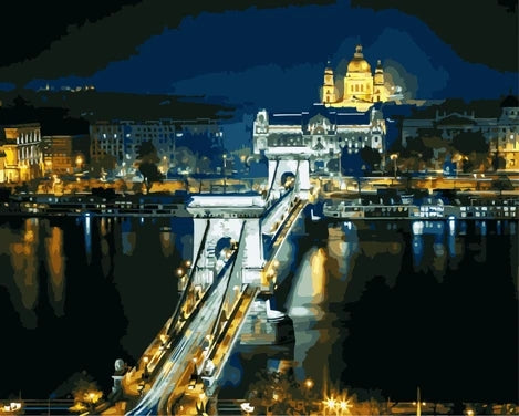 Budapest Landscape Bridge Diy Paint By Numbers Kits LS310