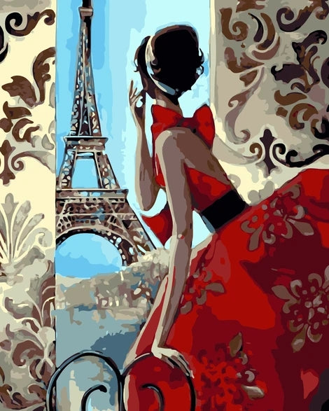 Eiffel Tower Girl Portrait Diy Diy Paint By Numbers Kits LS280