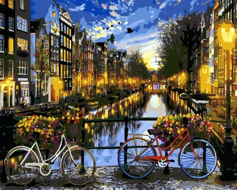 Landscape Riverside Bicycle Diy Paint By Numbers UK LS050