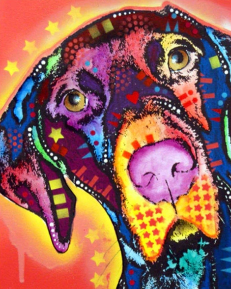Colorful Dog Diy Paint By Numbers Kits UK PE0047