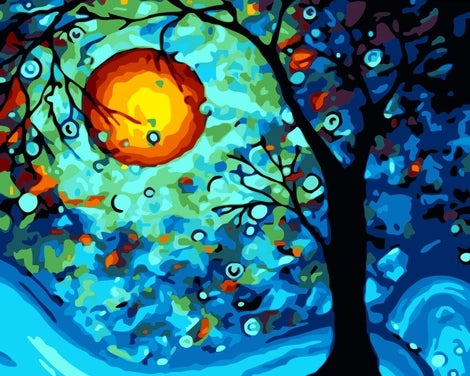 Moon Landscape Tree Diy Paint By Numbers Kits FD252