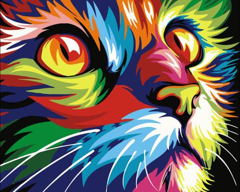 Pet Colorful Cat Diy Paint By Numbers Kits For Adults UK PE0001