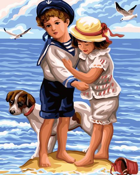 Boy And Girl Portrait Diy Paint By Numbers Kits UK PO0259