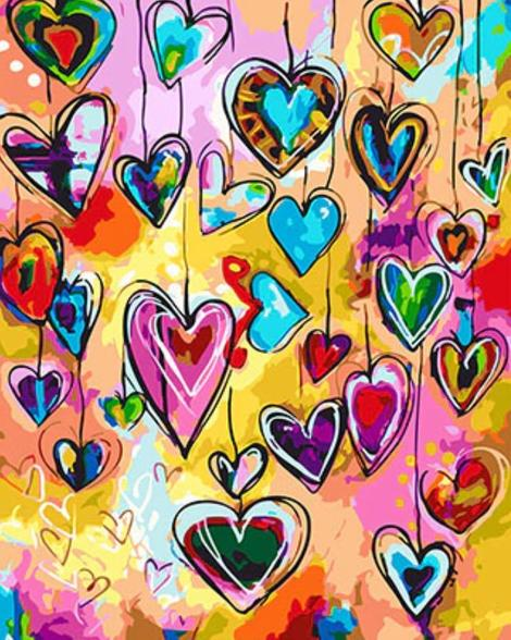 Heart Shaped Pattern Diy Paint By Numbers Kits UK PO0075